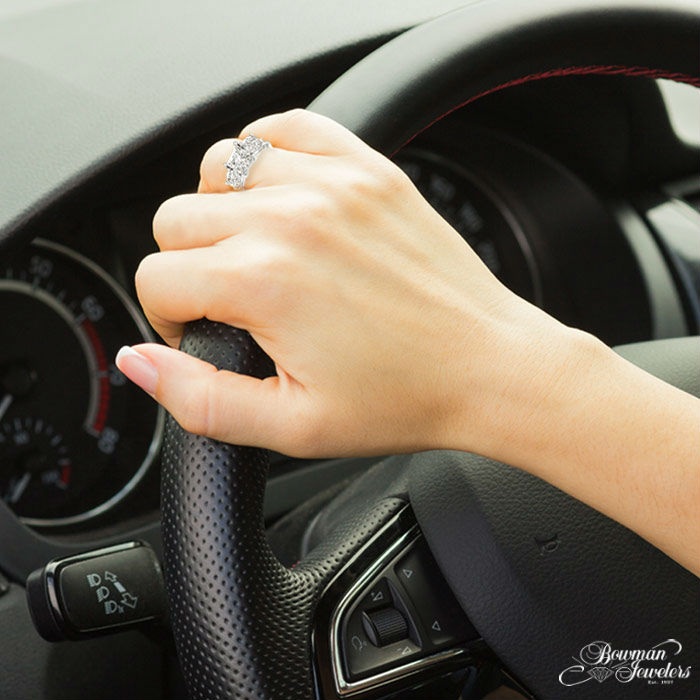 driving-car-flaunt-engagement-ring-bowman-jewelers