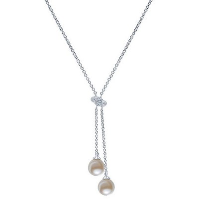 14K White Gold Diamond and Cultured Pearl Lariat Necklace