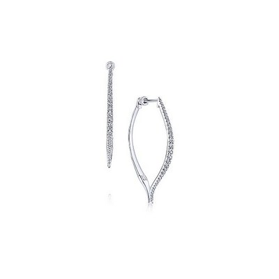 14k White Gold 40mm Intricate Contoured Diamond Hoop Earrings